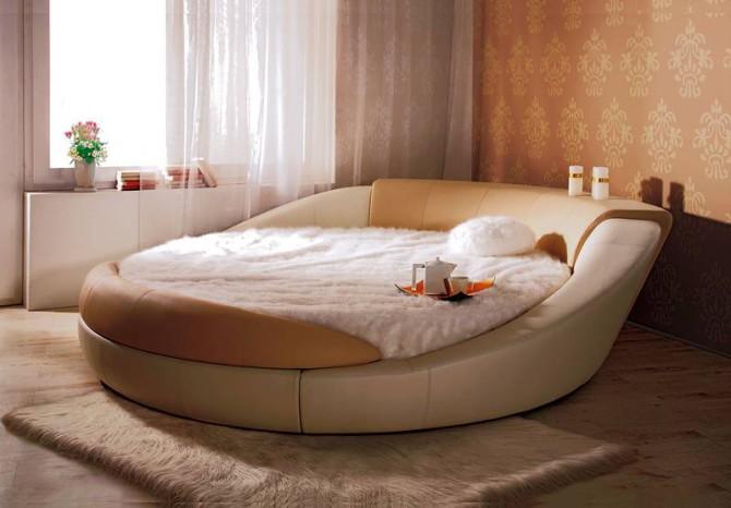 дизайн комнаты с круглой кроватью