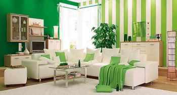 зеленый цвет в мебели и обоях